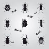 Icone degli scarabei e degli insetti messe Fotografia Stock Libera da Diritti