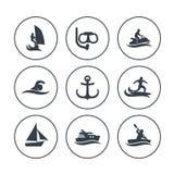 Icone degli sport acquatici, praticando il surfing, navigare, tuffantesi illustrazione di stock