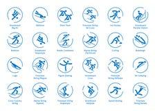 Icone degli sport invernali messe Fotografie Stock Libere da Diritti