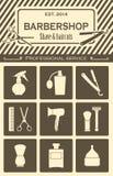 Icone degli strumenti dell'annata del negozio di barbiere messe Immagini Stock