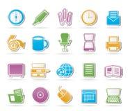 Icone degli strumenti dell'ufficio e di affari Fotografia Stock