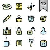 Icone degli strumenti dell'ufficio messe Fotografie Stock Libere da Diritti