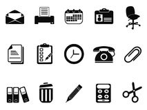 Icone degli strumenti dell'ufficio messe Fotografia Stock