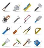 Icone degli strumenti della costruzione e dell'edificio Immagini Stock Libere da Diritti