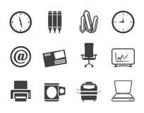 Icone degli strumenti di affari e dell'ufficio della siluetta Fotografia Stock