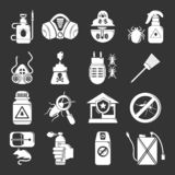 Icone degli strumenti di controllo dei parassiti messe grige royalty illustrazione gratis