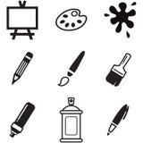 Icone degli strumenti di disegno o della pittura Fotografia Stock Libera da Diritti
