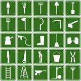 Icone degli strumenti di giardino Fotografia Stock Libera da Diritti
