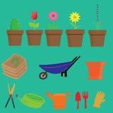 Icone degli strumenti di giardino Immagine Stock