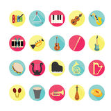 Icone degli strumenti di musica messe Fotografia Stock