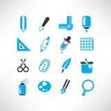 Icone degli strumenti di scrittura e del disegno Fotografia Stock Libera da Diritti
