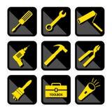 Icone degli strumenti impostate Fotografia Stock