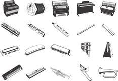 Icone degli strumenti musicali   Fotografie Stock Libere da Diritti