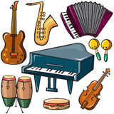 Icone degli strumenti musicali impostate Fotografie Stock Libere da Diritti
