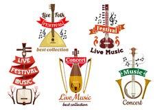 Icone degli strumenti musicali per il fest di musica, concerto royalty illustrazione gratis