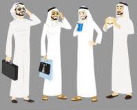 Icone degli uomini di Khaliji nelle posizioni diritte Fotografia Stock Libera da Diritti