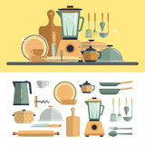 Icone degli utensili da cucina della cucina su bianco Fotografia Stock Libera da Diritti