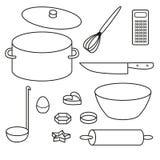 Icone degli utensili della cucina messe Fotografie Stock Libere da Diritti