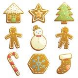 Icone dei biscotti del pan di zenzero Fotografia Stock