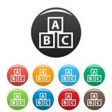 Icone dei blocchetti di ABC di istruzione messe illustrazione di stock