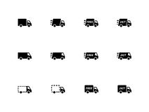 Icone dei camion di consegna su fondo bianco. Fotografie Stock