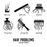 Icone dei capelli messe Immagine Stock