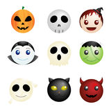 Icone dei caratteri di Halloween Fotografia Stock