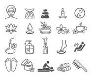 Icone dei cosmetici di terapia di massaggio della stazione termale Immagini Stock Libere da Diritti