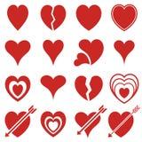 Icone dei cuori rossi Immagine Stock