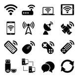 Icone dei dispositivi wireless messe Fotografie Stock Libere da Diritti