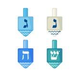 Icone dei dreidels di Chanukah nello stile piano Fotografie Stock Libere da Diritti