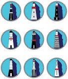 Icone dei fari nei cerchi annodati Fotografia Stock Libera da Diritti