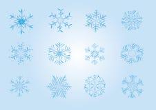 Icone dei fiocchi di neve Fotografie Stock