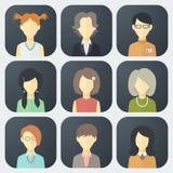 Icone dei fronti della femmina messe Fotografia Stock Libera da Diritti