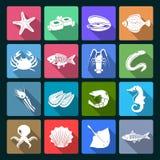 Icone dei frutti di mare messe bianche Fotografia Stock
