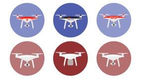 Icone dei fuchi con gli aerei senza equipaggio della polizia di scopo, dell'erba medica, del fuoco, della consegna differenti ecc illustrazione di stock