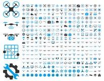 Icone dei fuchi dell'aria e degli strumenti del quadcopter Immagine Stock Libera da Diritti