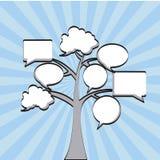 Icone dei fumetti dell'albero Fotografia Stock