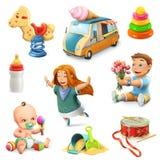 Icone dei giocattoli e dei bambini illustrazione di stock