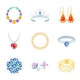 Icone dei gioielli piane Fotografie Stock