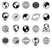 Icone dei globi e simboli - illustrazione Fotografia Stock