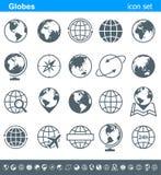 Icone dei globi e simboli - illustrazione Fotografia Stock Libera da Diritti