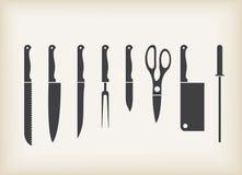 Icone dei knifes della cucina Fotografia Stock