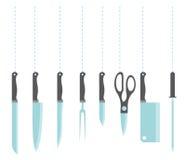 Icone dei knifes della cucina Fotografia Stock Libera da Diritti