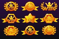 Icone dei modelli VIP dell'oro per i premi, creare le icone per i giochi mobili I beni di gioco di concetto di vettore, hanno mes illustrazione vettoriale