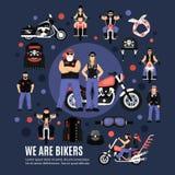 Icone dei motociclisti messe Immagini Stock