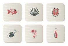 Icone dei pesci, dei frutti di mare e della carne   Serie del cartone Fotografia Stock