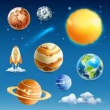 Icone dei pianeti e dello spazio Fotografie Stock