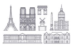 Icone dei punti di riferimento di vettore del paesaggio di Parigi del profilo, Francia Fotografia Stock