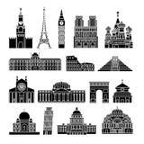 Icone dei punti di riferimento di viaggio Fotografia Stock